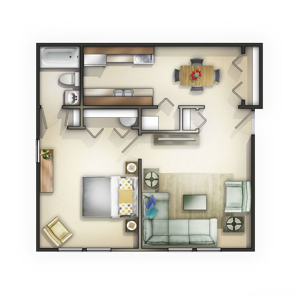Large 1 Bedroom Apartment Floor Plans: Knoxville, TN Apartment
